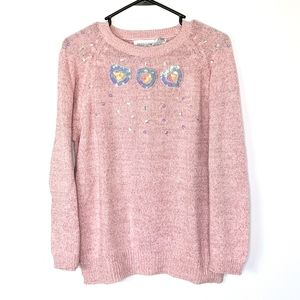 Vintage Traditions Pink Glittery Sequined Sweater